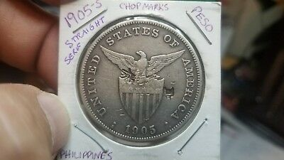 "US Philippines One Peso 1905-S Straight Serif ""1"" and ""5"" w/Chop Marks RARE!"