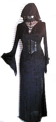 Renaissance Long Gown Corset Hood Cosplay Witch Vampire GOT LOTR Costume Blk OS