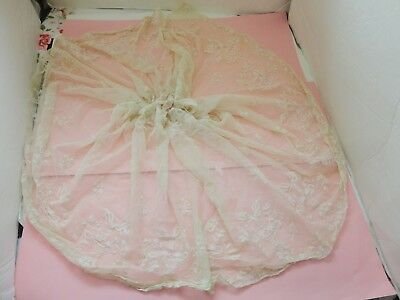 Antique Cream Tambour Net Large Lace Piece For Crafts Art Projects