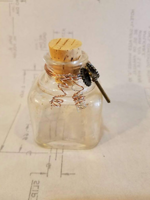 Steampunk Reclaimed Vintage 1930's Clear Small Square Glass Ink Bottle Grunge