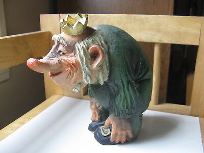 """Henning Carved by Hand in Norway Wooden 5 3/4"""" Troll Wearing a Crown"""