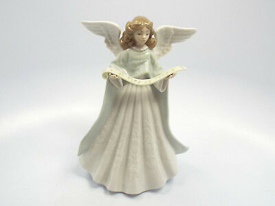 """Lladro Figurine #5719 Angel with Scroll Christmas Tree Topper, 7 1/4"""""""