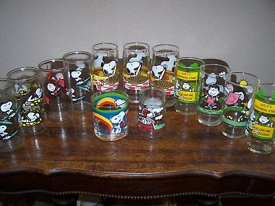 13 Vintage Snoopy Glasses Not McDonalds, United Feature Syndicate, inc & Welches