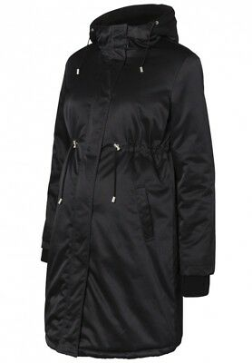Mama-Licious Maternity Black Quilted Long  Parka Coat Jacket Size S 8-10