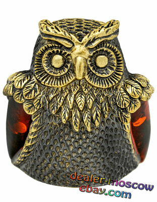 Bronze Solid Brass Original Thimble Owl Amber Wings IronWork