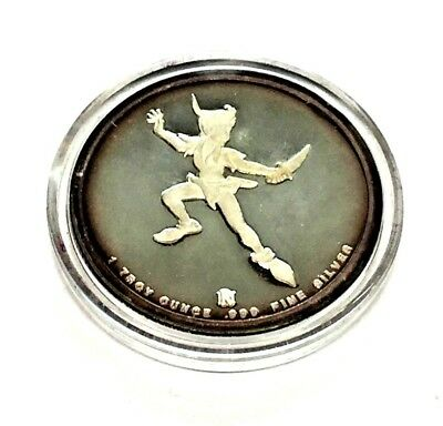 Disney Around The World Peter Pan 1-Troy Ounce .999 Fine Silver Coin