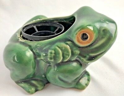 Old Vintage Frog  Pottery Planter Brush McCoy?
