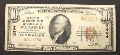 1929 $10 National Bank Note FR# 1801-1 Citizens Bank Waterbury Connecticut VG