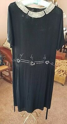 1920s Black Drop Waist Dress with Bead Design and Gathers   As is