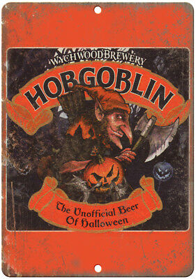 """Hobgoblin Wychwood Brewery Beer Ad 10"""" X 7"""" Reproduction Metal Sign E202"""