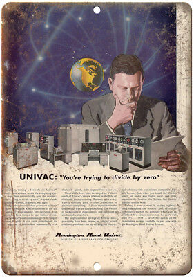 """Remington Sperry Rand Univac Data Center Ad 10"""" x 7"""" Reproduction Metal Sign D98"""