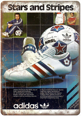 """Adidas Stars and Stripes Soccer Cleates 10"""" X 7"""" Reproduction Metal Sign ZE35"""
