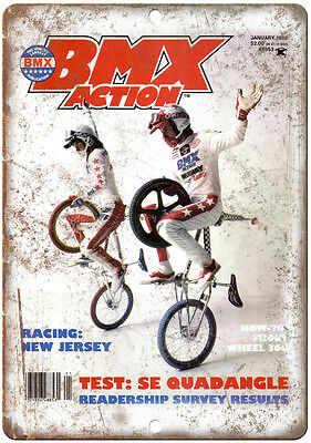 """10"""" x 7"""" Metal Sign Bicycle Motocross Action BMX Vintage Look Reproduction B74"""