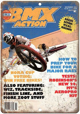 """10"""" x 7"""" Metal Sign Bicycle Motocross Action BMX Vintage Look Reproduction B108"""