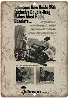 """Johnson Double-Drag Fishing Reel Tackle Ad - 10'"""" x 7"""" Reproduction Metal Sign"""