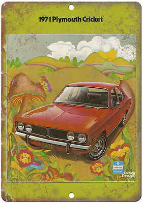 """1971 Plymouth Cricket Car Sales Flyer Ad 10"""" x 7"""" Reproduction Metal Sign"""