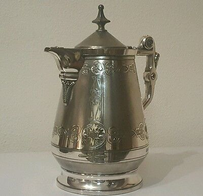 Impressive 1868 Ornate Meriden Britannia Co. Silver Plate Water  Pitcher