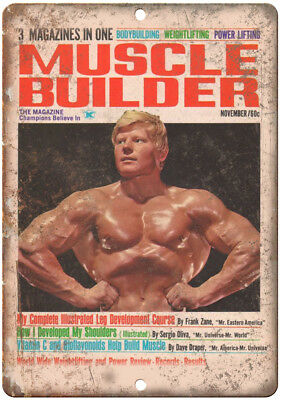 """Muscle Builder Mag Frank Zane Bodybuilding 10"""" X 7"""" Reproduction Metal Sign W04"""