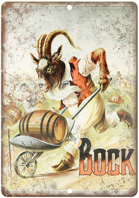 """Bock Beer Man Cave Vintage Ad Décor 10"""" x 7"""" Reproduction Metal Sign E210"""