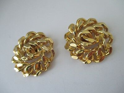 Vintage Designer Shoe Clips BLUETTE Gold Plated Chunky Chain Motif