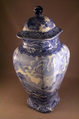 """SPECTACULAR PRATTS """"LAKES SCENERY"""" BLUE AND WHITE LIDDED VASE c.1900's - PERFECT"""