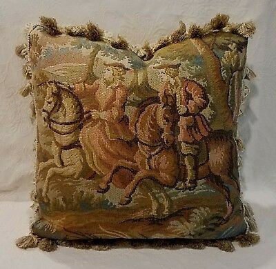 French Tapestry Pillow, Man Woman Horse, Peach Green  Blue Brown, Newly Made