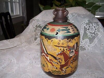 Unusual painted glass jug Canada 1805