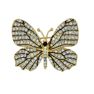 Luxury Butterfly Brooches For Women Clear Crystal Rhinestone Brooch Pin