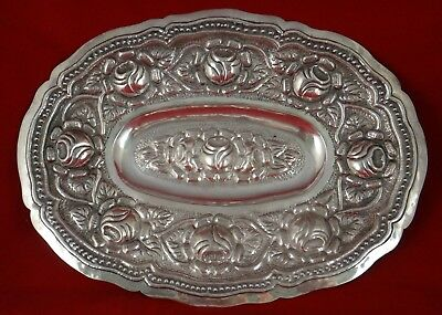"""Vintage Mexican sterling silver oval tray,tooled floral motifs.16 1/8"""" x 11 7/8"""""""