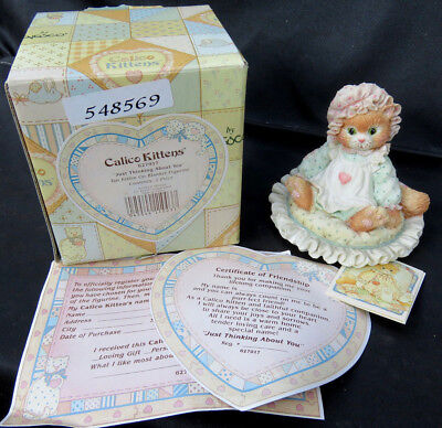 """1992 Calico Kittens """"Just Thinking About You"""" Enesco Cat Figurine NEW in Box COA"""