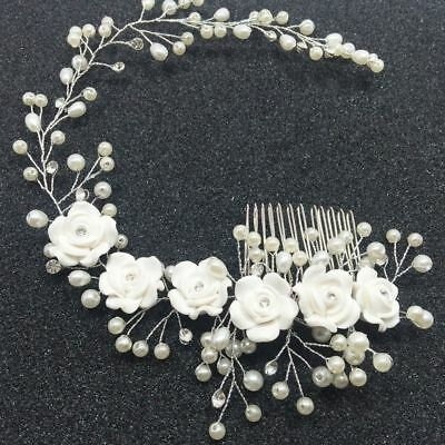 Wedding Women Crystal Diamante Hair Comb Headband Headpiece Bridal Flower