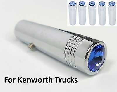 "(Set/5) Kenworth Blue Crystal Toggle Switch Extensions 2-1/4"" Long, Chrome Metal"