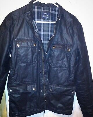 J. CREW JACKET Men's SMALL S Black Waxed Cotton Thinsulate