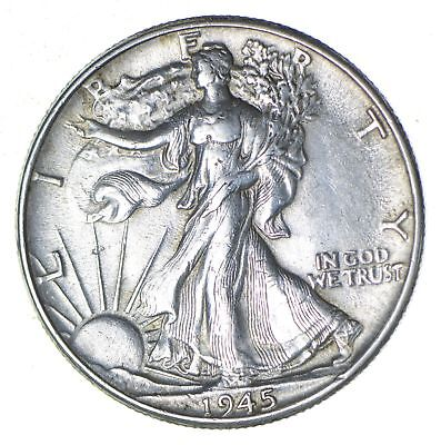 Choice AU Unc 1945 Walking Liberty Half Dollar *328