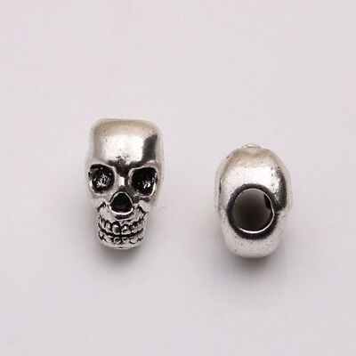 Charms Antique Silver Skull Head Spacer Beads For Bracelet Jewelry Making