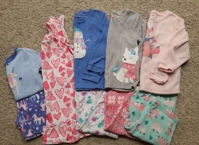 Girls Pajama Lot Size 4/4T- Carters, Gymboree, Fleece Pajama Set, Nightgown