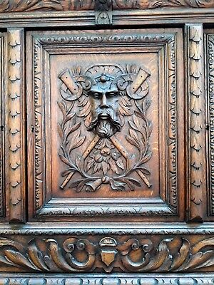 RARE Antique English SOLID Oak Gothic Green Man Ornate CARVED Buffet Sideboard