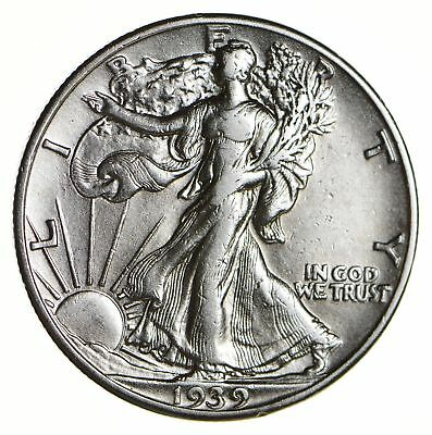Strong Feather Details - 1939 Walking Liberty Half Dollar *380