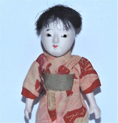 VINTAGE BISQUE Gofun ASIAN ORIENTAL 1:12 Scale JOINTED DOLLHOUSE JAPANESE DOLL