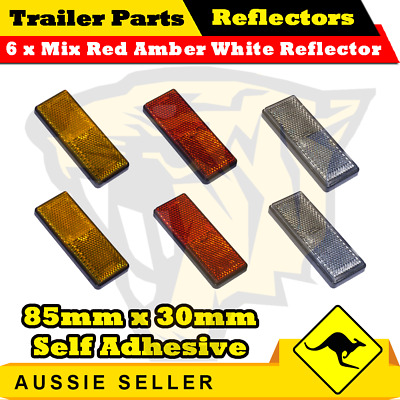 6 x Mix Red Amber White 85mm x 30mm Self Adhesive Reflectors-Superior Trailers