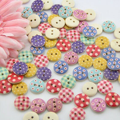 100X Mixed Bulk Round Mutil-Colors Dots Wood Buttons Lots Embellish 15MM New