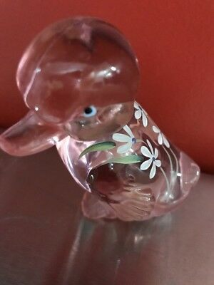 Fenton Clear Green Hand Painted Signed Duck