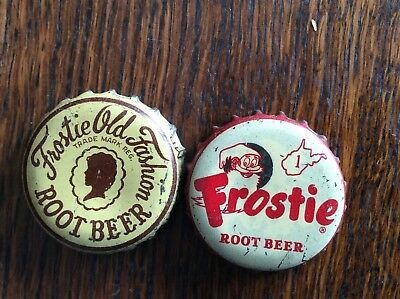 2 Different  Frostie Root Beer  Soda   Bottle   Caps  -  Cork Lined  -  Used