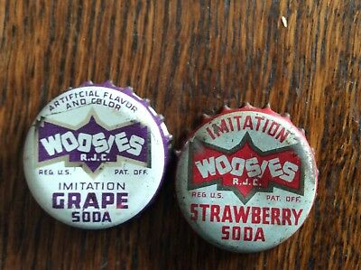 2 Different   Woosies   Soda   Bottle   Caps  -  Cork Lined  -  Used