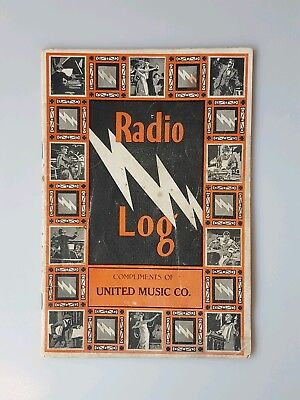 Radio Log Book 1926 Broadcast Stations United Music Co. Advertising Antique Vtg