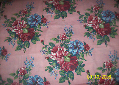 "RARE Vintage Cotton Fabric Large Red Blue  Roses on PINK 8+ yards 36"" Wide"