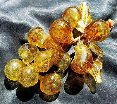 Vtg Mid Century Hand Blown Amber Art Glass Grape Cluster Decor Great Display
