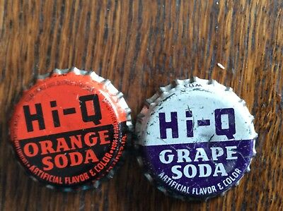 2 Different  Hi - Q  Soda   Bottle   Caps  -  Cork Lined  -  Used