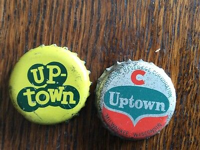 2 Different  Up-Town  Soda   Bottle   Caps  -  Cork Lined  -  Used