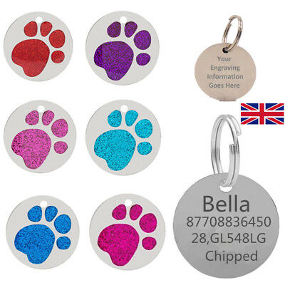 Personalised Engraved 25mm Glitter Paw Print Tag Dog Cat Pet ID Tags Reflective